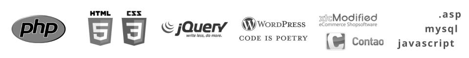 Wir arbeiten mit PHP, HTML 5, CSS und vielen gängigen Webtechnologien mehr